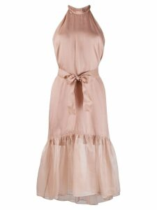 Pinko sheer flounce hem dress - Neutrals