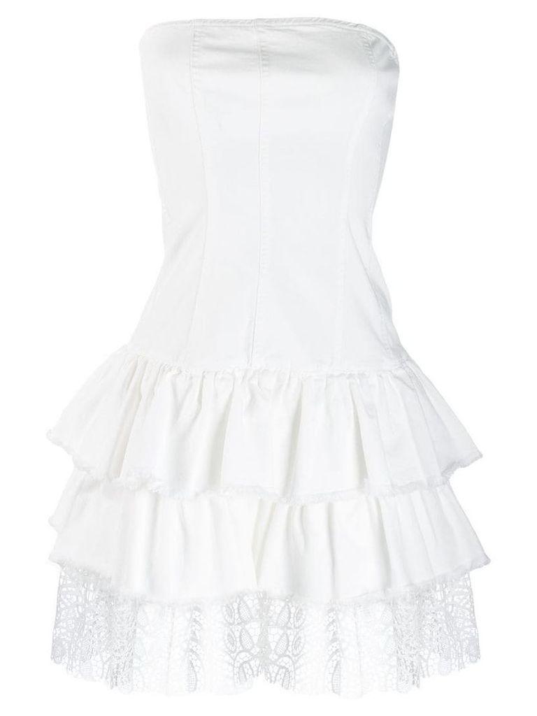 Liu Jo ruffled strapless dress - White