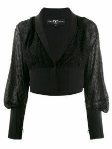 Avaro Figlio embellished sheer crop blouse - Black