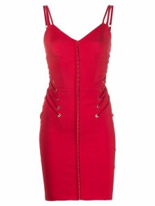 Murmur lace-up detail fitted dress - Red