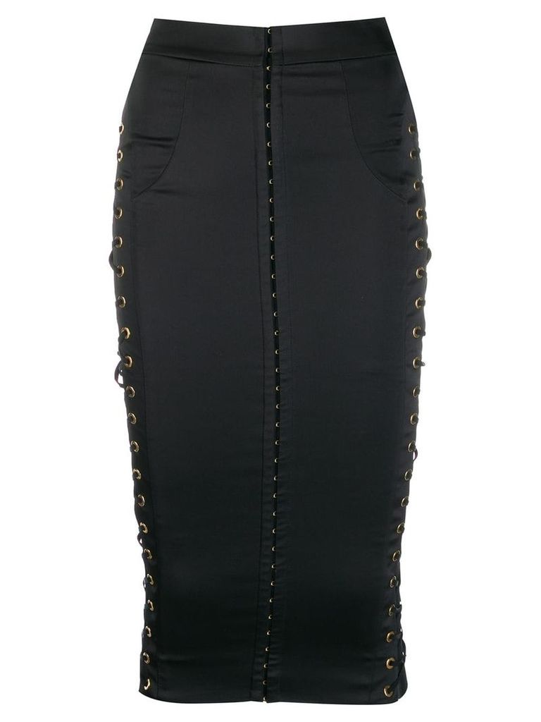 Murmur lace-up detail fitted skirt - Black