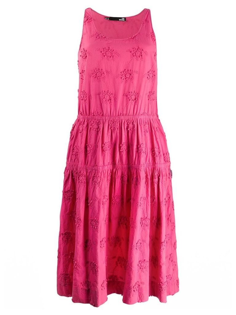 Love Moschino floral embroidered midi dress - Pink