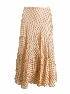 Isa Arfen tiered checked skirt - NEUTRALS