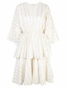 Rhode Resort patterned layered dress - White
