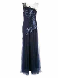 Tadashi Shoji one-shoulder tulle gown - Blue