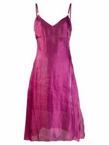 Murmur sheen slip midi dress - Purple