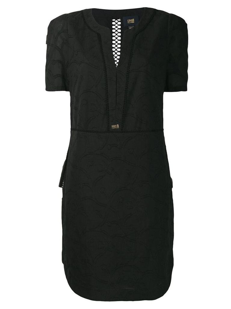 Cavalli Class embroidered floral dress - Black