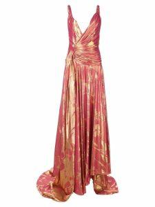 Oscar de la Renta plunging neckline satin gown - Pink