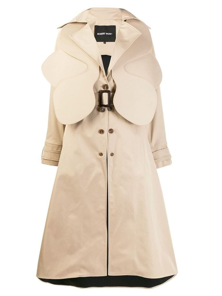 Robert Wun textured trench coat - Neutrals