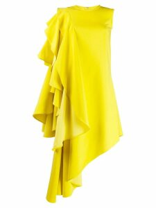 Robert Wun ruffled asymmetric dress - Yellow