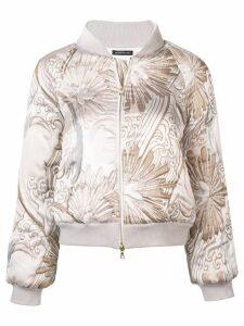 Josie Natori jacquard quilted bomber jacket - White