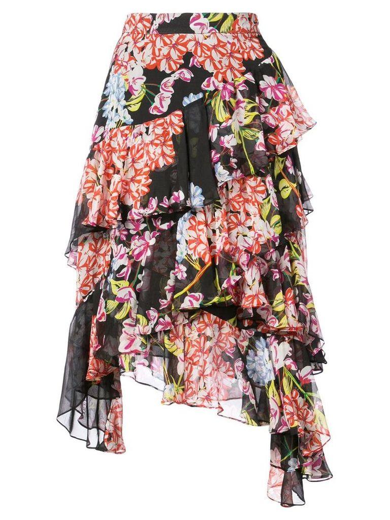 Josie Natori Hokkaido Blossom tiered skirt - Black