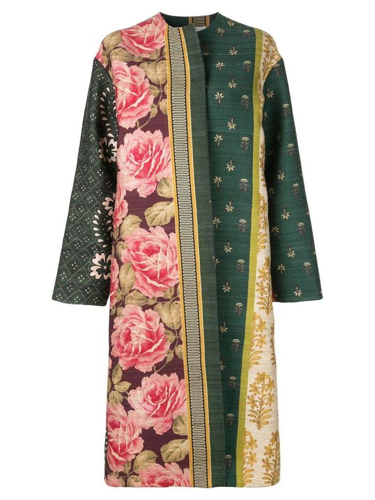 Oscar de la Renta multi-pattern open coat - Multicolour
