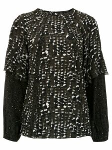 Andrea Marques printed long sleeved top - Black