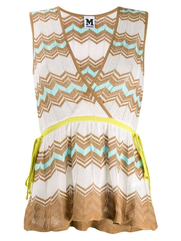 M Missoni knitted babydoll top - Neutrals