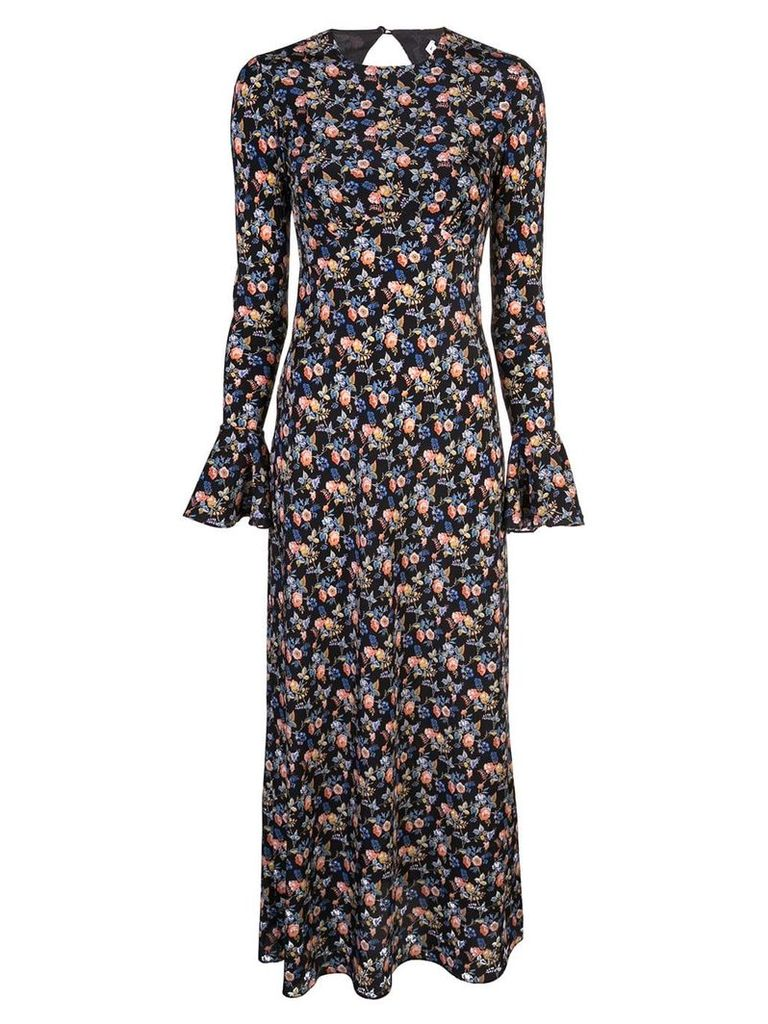 Les Reveries open back floral dress - Black