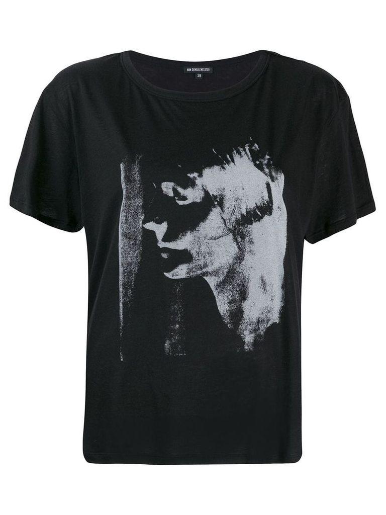Ann Demeulemeester mask print T-shirt - Black