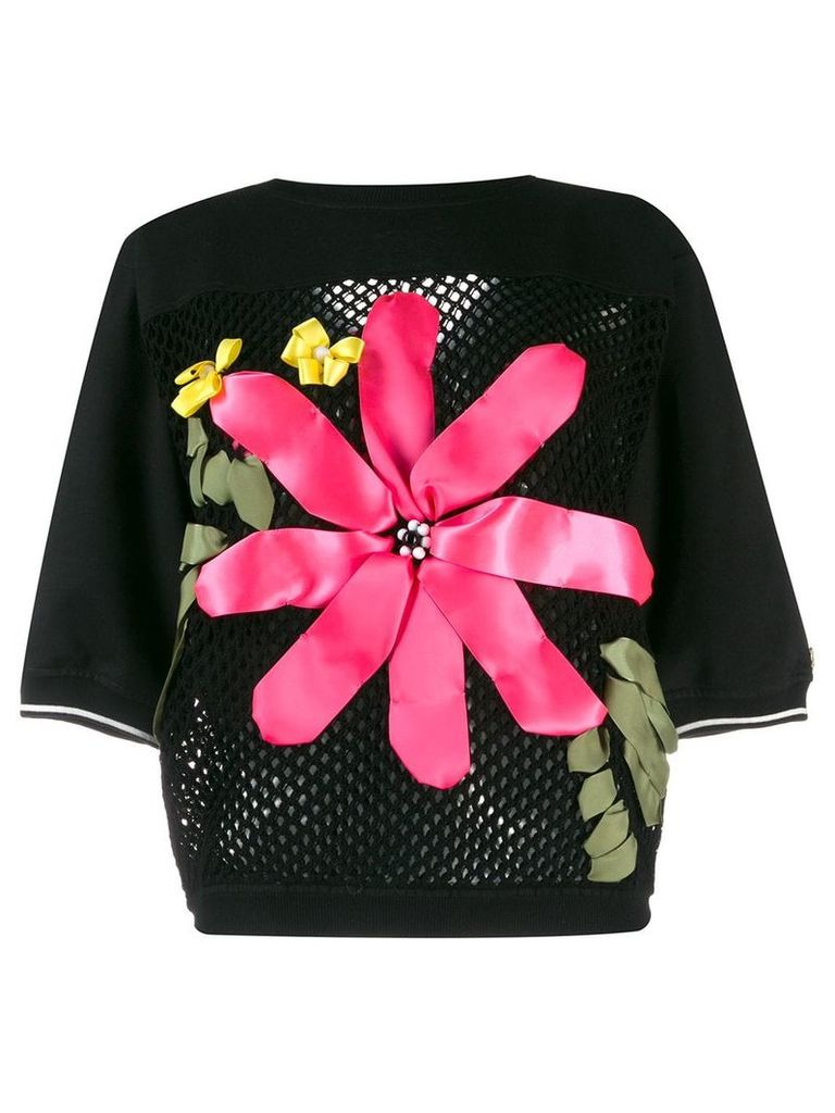 Twin-Set floral applique knitted top - Black