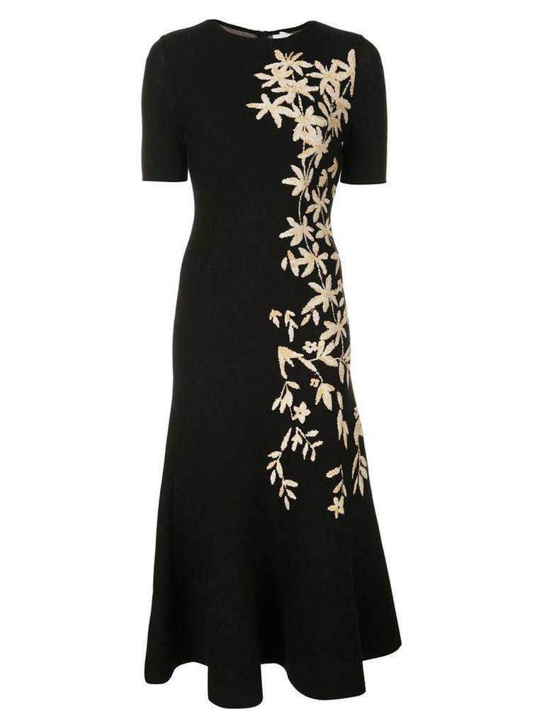 Oscar de la Renta floral print knitted midi dress - Black
