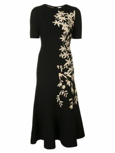 Oscar de la Renta floral print knitted midi dress - Black