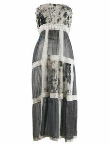 Monica Sarti leaf patterned dress - Grey