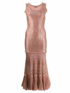 Alexander McQueen laddered knit midi dress - Pink