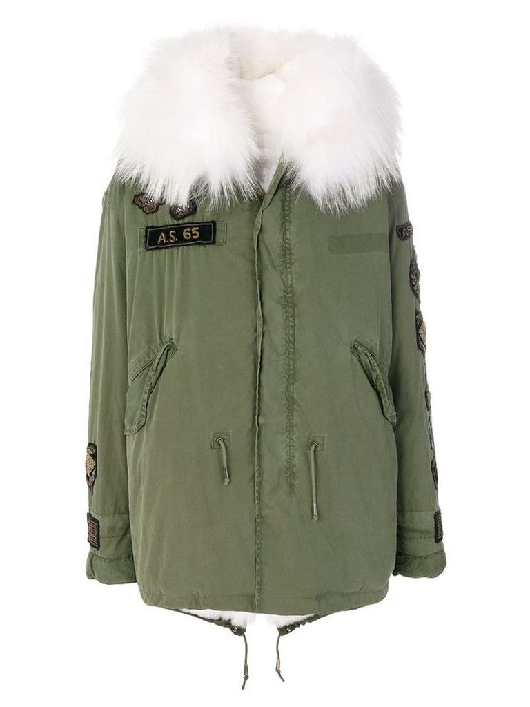 As65 fur-lined embroidered parka - Green