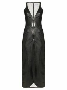 Situationist cutout leather midi dress - Black