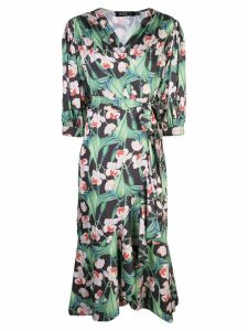 Patbo floral midi wrap dress - Black