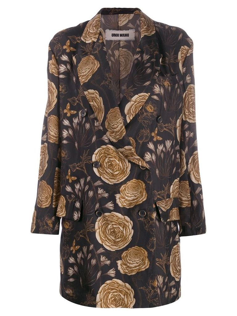 Uma Wang rose print midi coat - Brown
