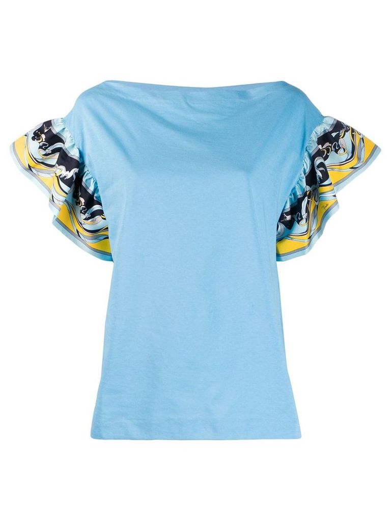 Emilio Pucci printed ruffled sleeve top - Blue