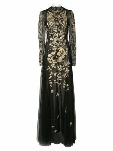 Oscar de la Renta long sleeved gown with gold embroidery - Black