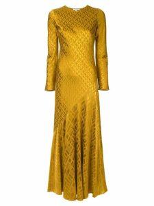 Layeur printed bias cut maxi dress - Yellow