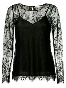 Gold Hawk long-sleeved lace top - Black