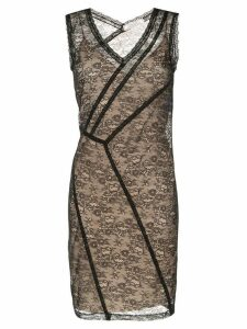 Nina Ricci lace panelled midi dress - Black