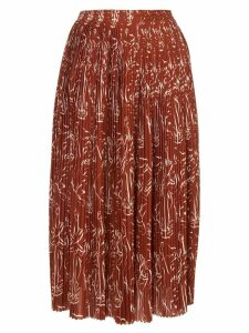 Nina Ricci printed pleated skirt - Brown
