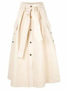 Nina Ricci belted button-up skirt - Neutrals