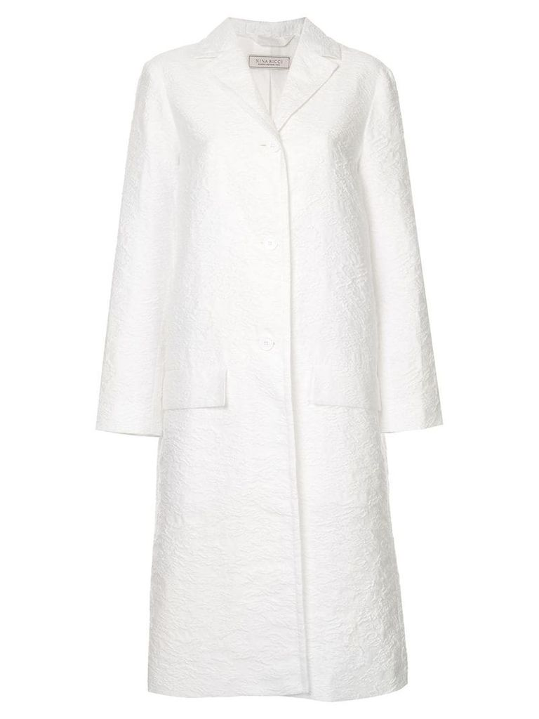 Nina Ricci textured single breasted coat - White