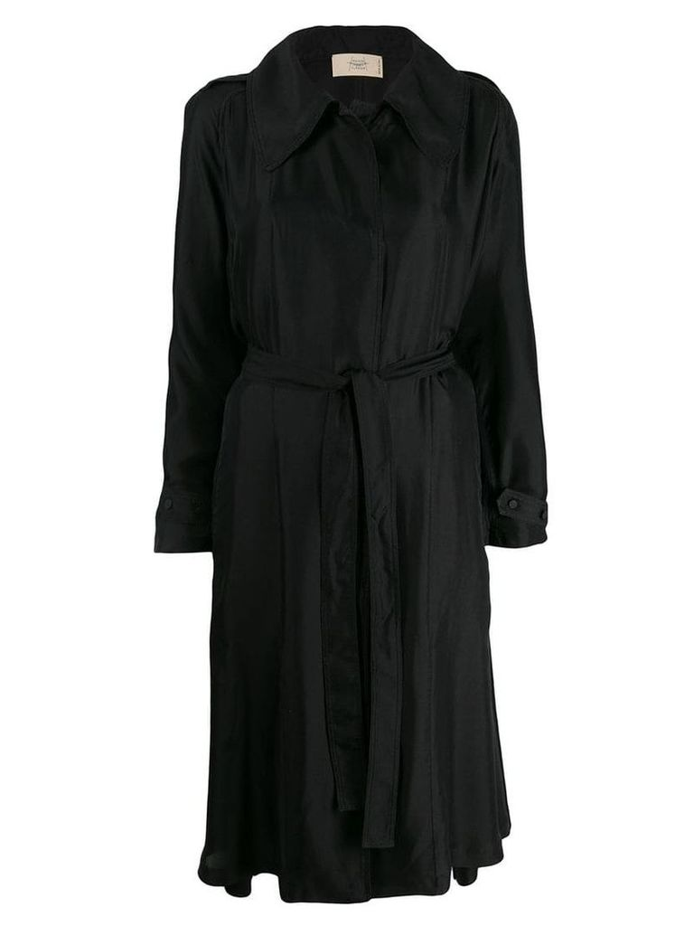 Maison Flaneur asymmetric wrap coat - Black