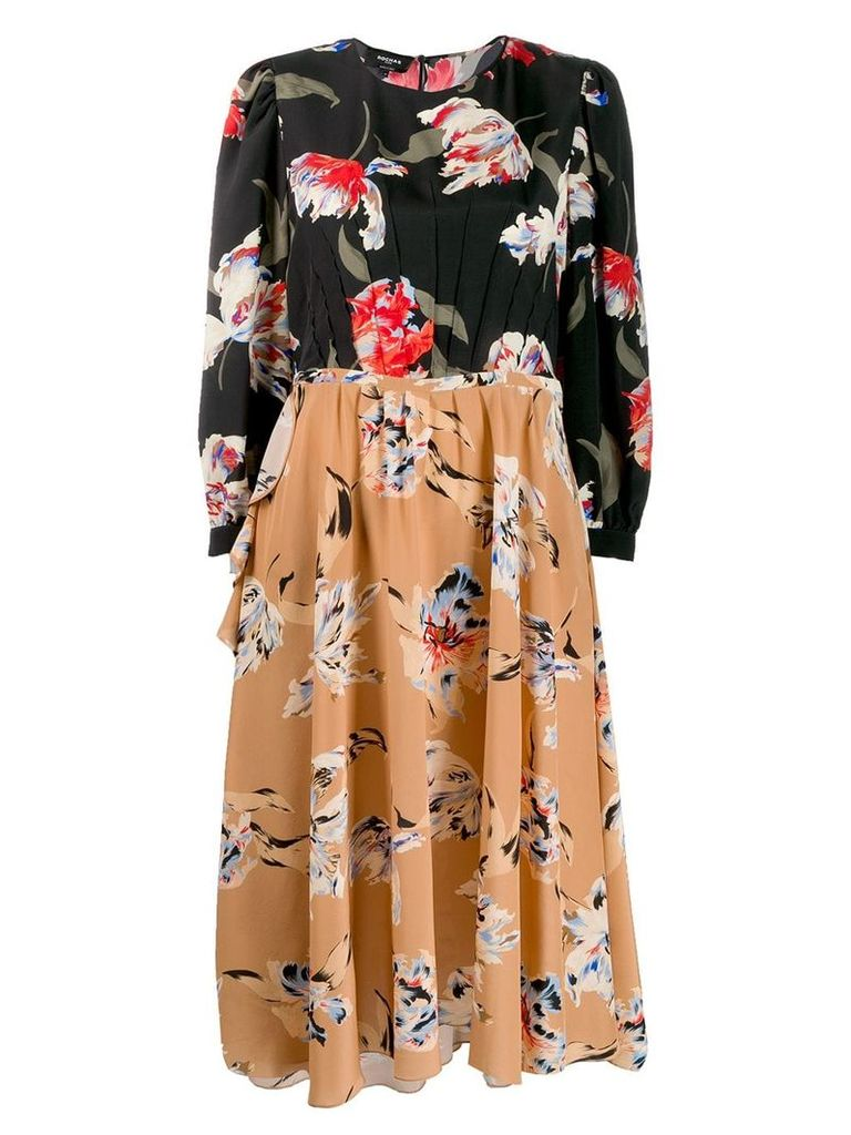 Rochas floral print midi dress - Black