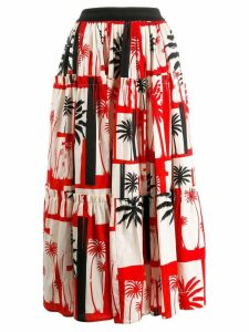 Fausto Puglisi palm tree print skirt - Red