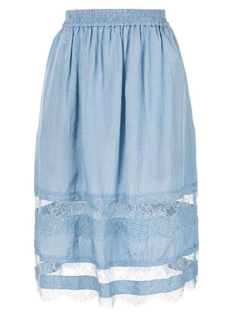 Nina Ricci lace panelled midi skirt - Blue