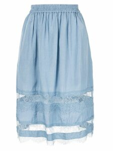 Nina Ricci lace panelled midi skirt - Blue
