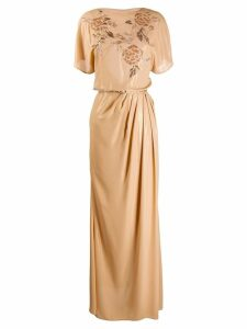 Elisabetta Franchi empire line maxi dress - Neutrals
