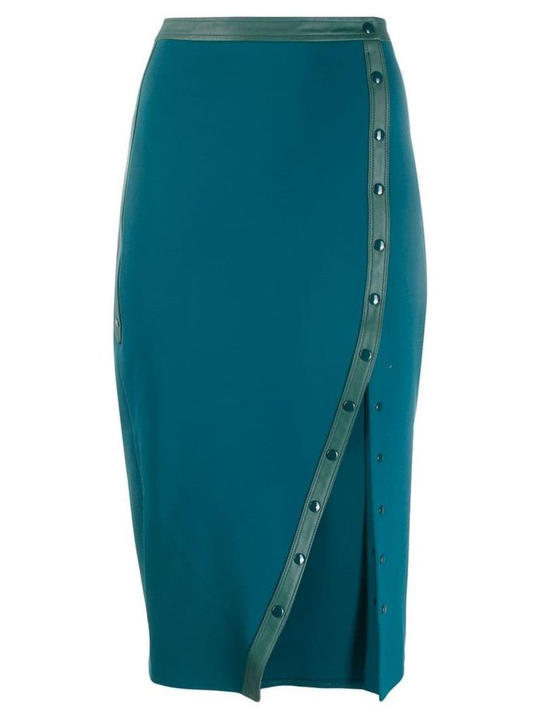 Elisabetta Franchi leather trim pencil skirt - Green