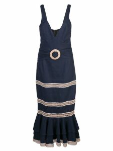 Patbo jute trim midi dress - Blue