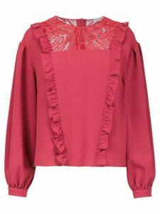 Martha Medeiros long sleeved crepe top - Red