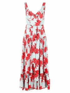 Proenza Schouler Splatter Floral Sleeveless Tiered Dress - Blue