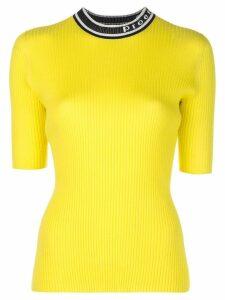 Proenza Schouler PSWL Logo Knit Short Sleeve Crewneck Top - Yellow