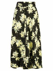 Proenza Schouler Splatter Floral Seamed Skirt - Black